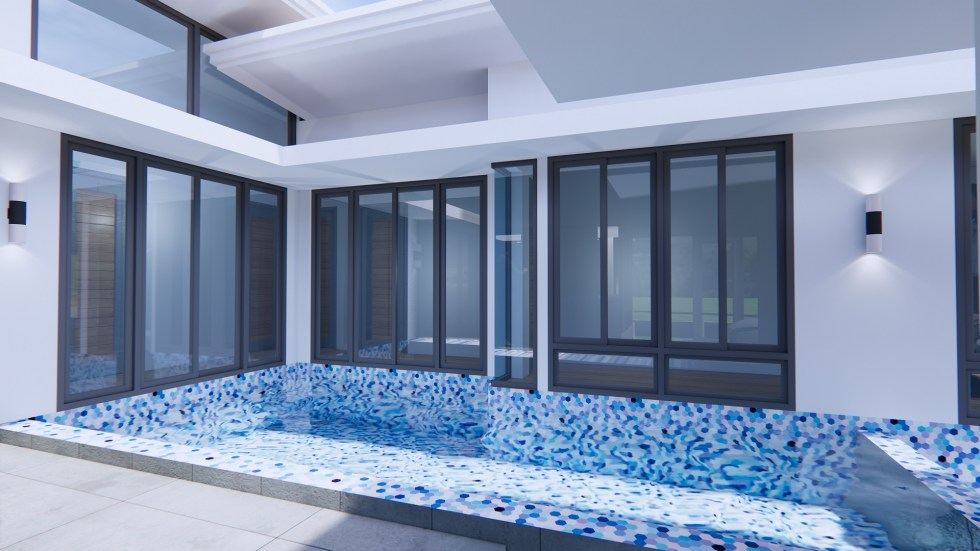 House Design with Pool 14x14 Meter 46x46 Feet 3 Beds 10