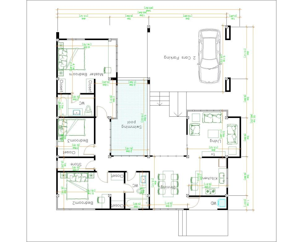 House Design with Pool 14x14 Meter 46x46 Feet 3 Beds Layout floor plan