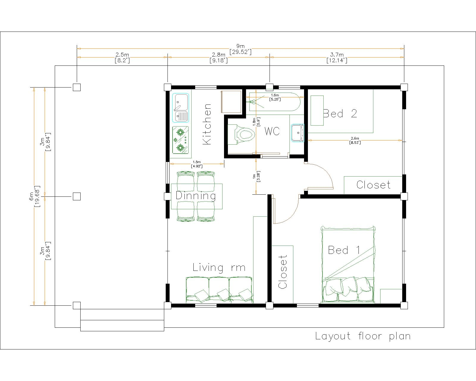 Small Home Floor Plans 9x6 Meter 30x20 Feet 2 Beds Layout floor plan