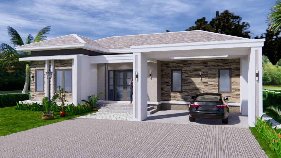 House Plans 14x11 Meter 46x36 Feet 3 Beds 1-3