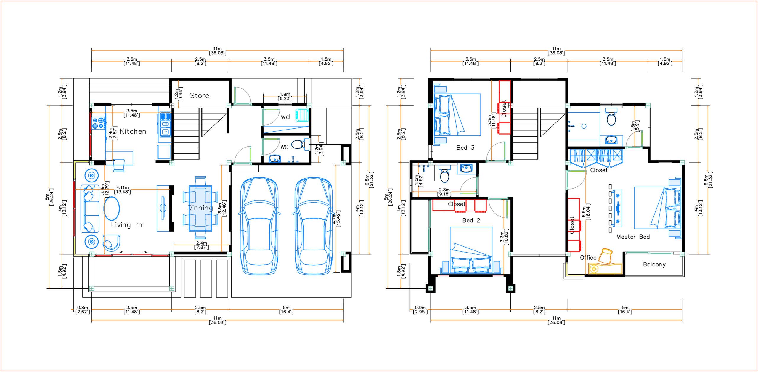 House Design 11x8 Meter 36x26 Feet 3 Beds layout floor plan