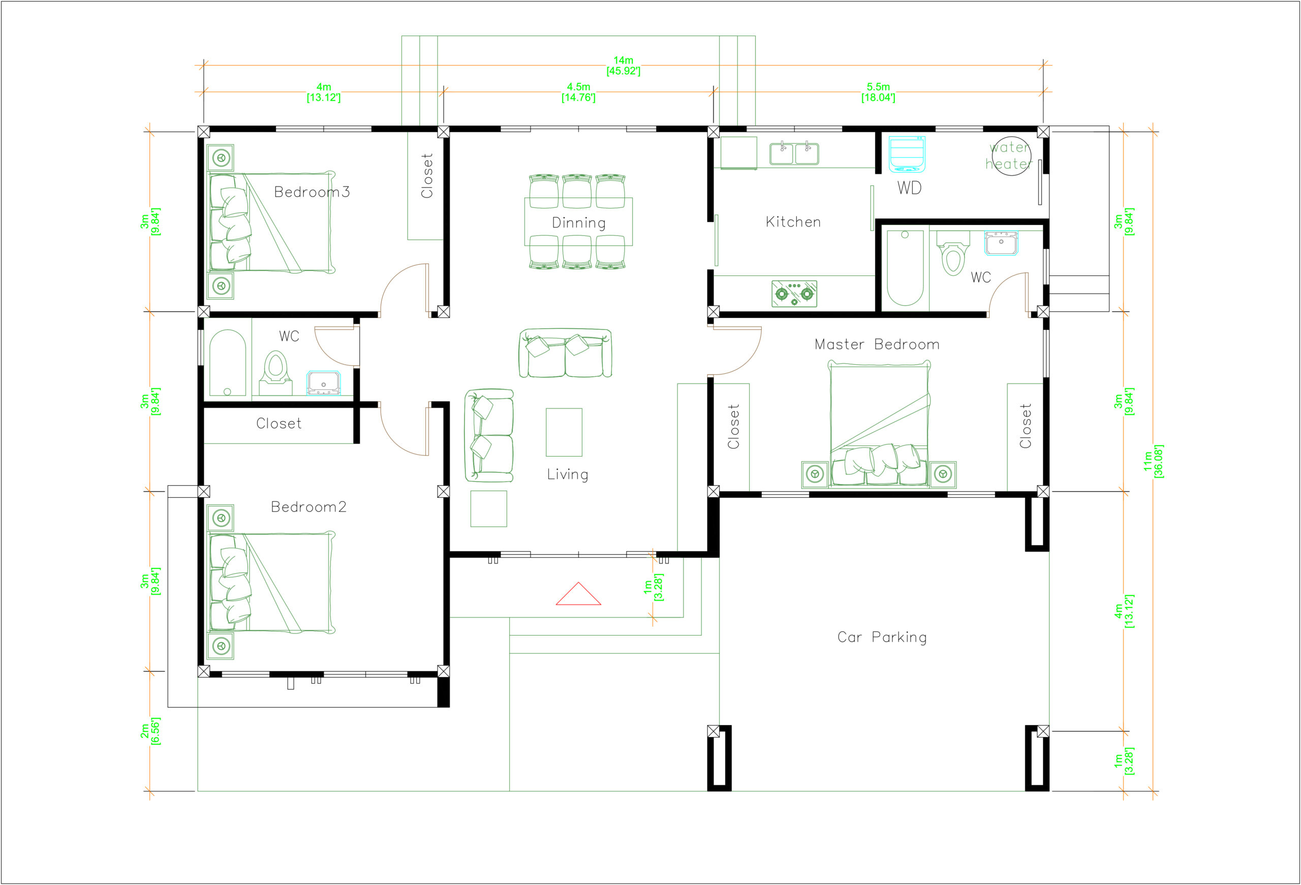 House Plans 14x11 Meter 46x36 Feet 3 Beds Layout floor plan