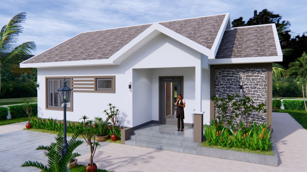 Modern House Drawing 12x9 Meter 40x30 Feet 2 Beds 1