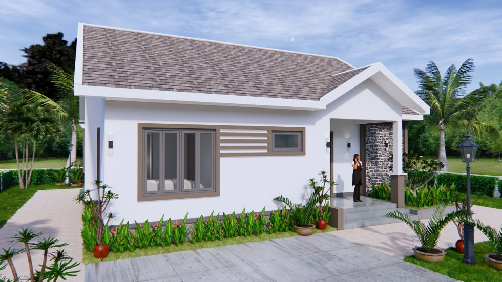 Modern House Drawing 12x9 Meter 40x30 Feet 2 Beds 3