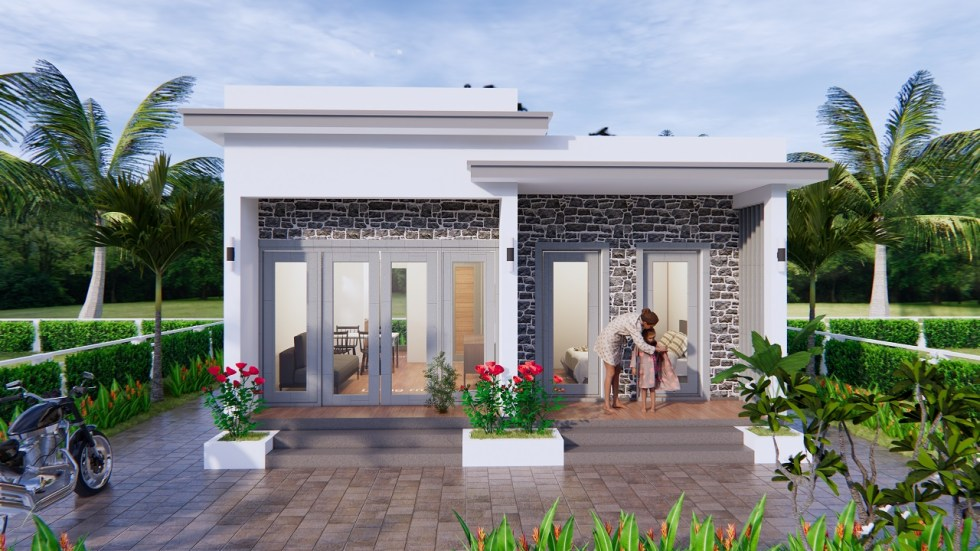 Modern Small House Design 7x7 Meter 23x23 Feet One Bed 2