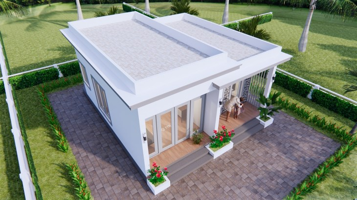 Modern Small House Design 7x7 Meter 23x23 Feet One Bed 7