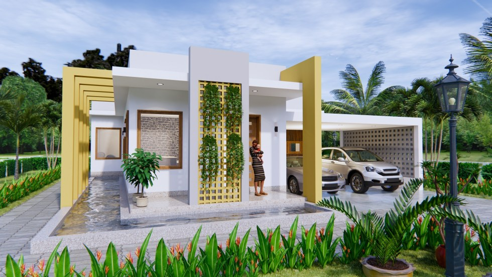 New House Design 12x14 Meter 40x46 Feet 2 Beds 1