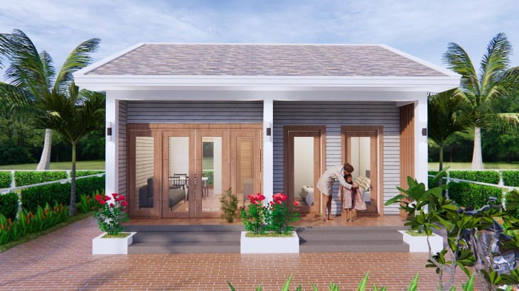 Small House Design 7x7 Meter 23x23 Feet Gable Roof 1