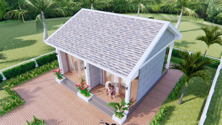Small House Design 7x7 Meter 23x23 Feet Gable Roof 4