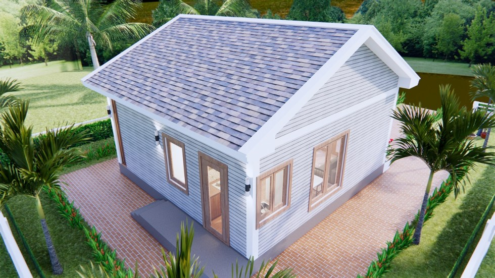 Small House Design 7x7 Meter 23x23 Feet Gable Roof 6