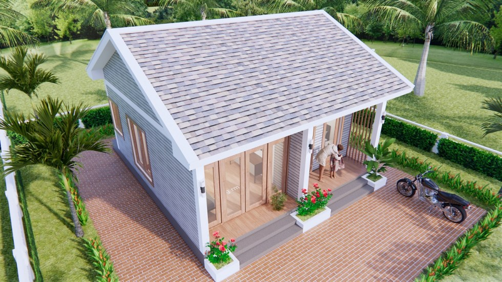 Small House Design 7x7 Meter 23x23 Feet Gable Roof 7