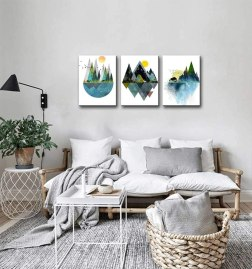 Abstract Geometric Mountains Artwork Landscape