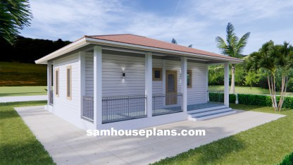 31x26 House design Plans with One Bedroom Hip roof Back 3d