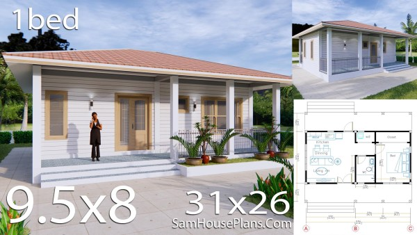 31x26 House Plans with One Bedroom Hip roof