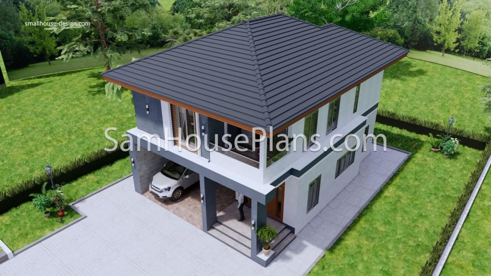 27x40 Feet House Plans 8x10 Meters 4 Bedrooms 7