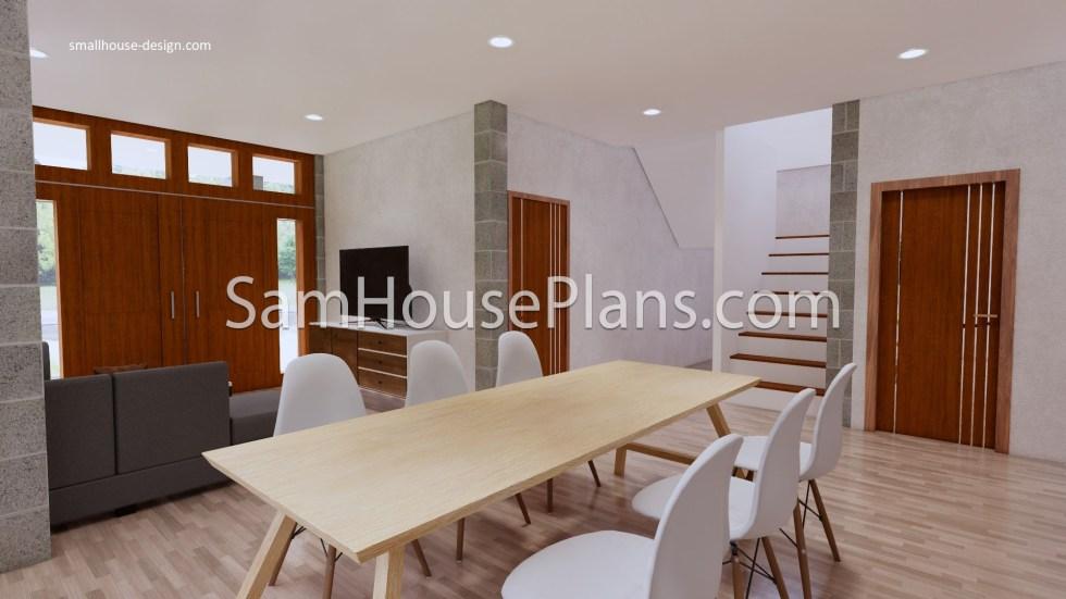 27x40 House Plans 8x10 Meters 4 Bedrooms Dining room