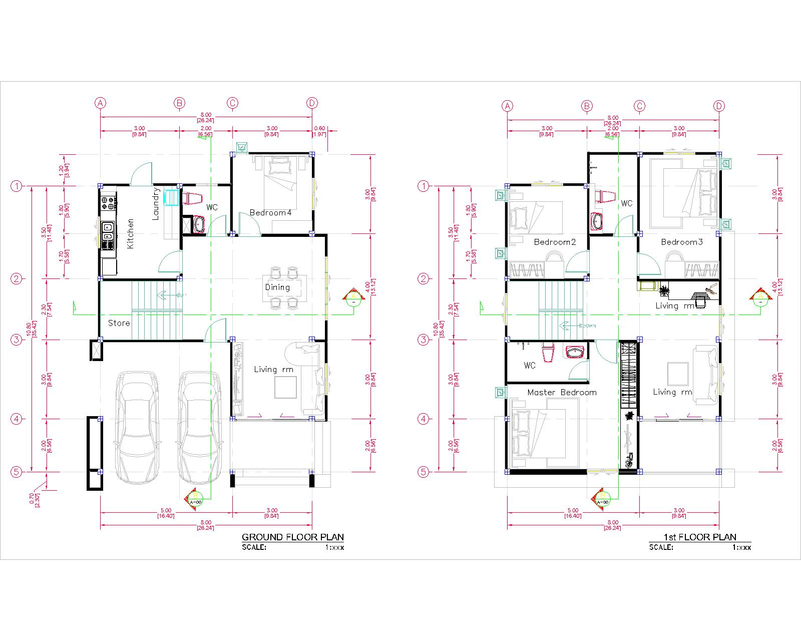 27x40 House Plans 8x10 Meters 4 Bedrooms floor plan