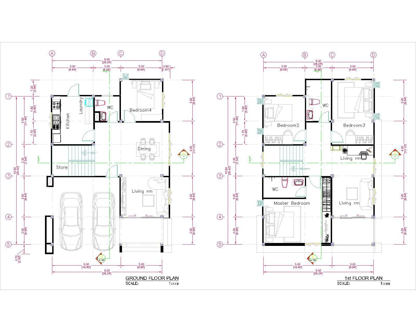27x40 House Plans 8x10 Meters 4 Bedrooms floor plan