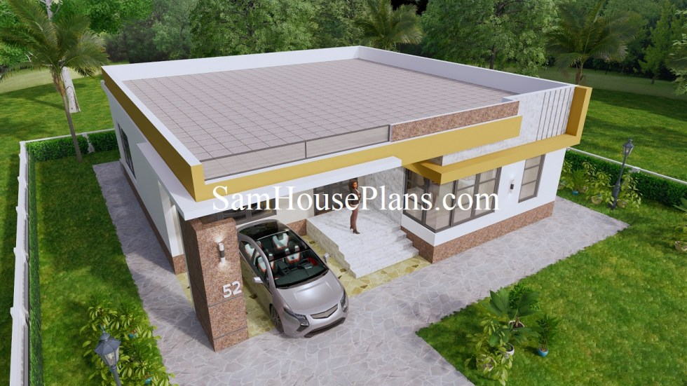 40x40 House Plans 12x12 meters 2 beds PDF Floor Plans 5