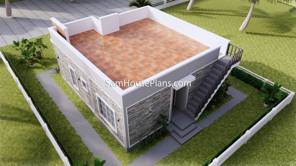 Small House Design 8x9 with 2 Bedrooms Terrace Roof 3D Exterior Terrace back