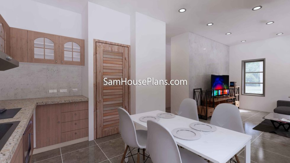 Small House Design 8x9 with 2 Bedrooms Terrace Roof 3D Kitchen and dining table 2