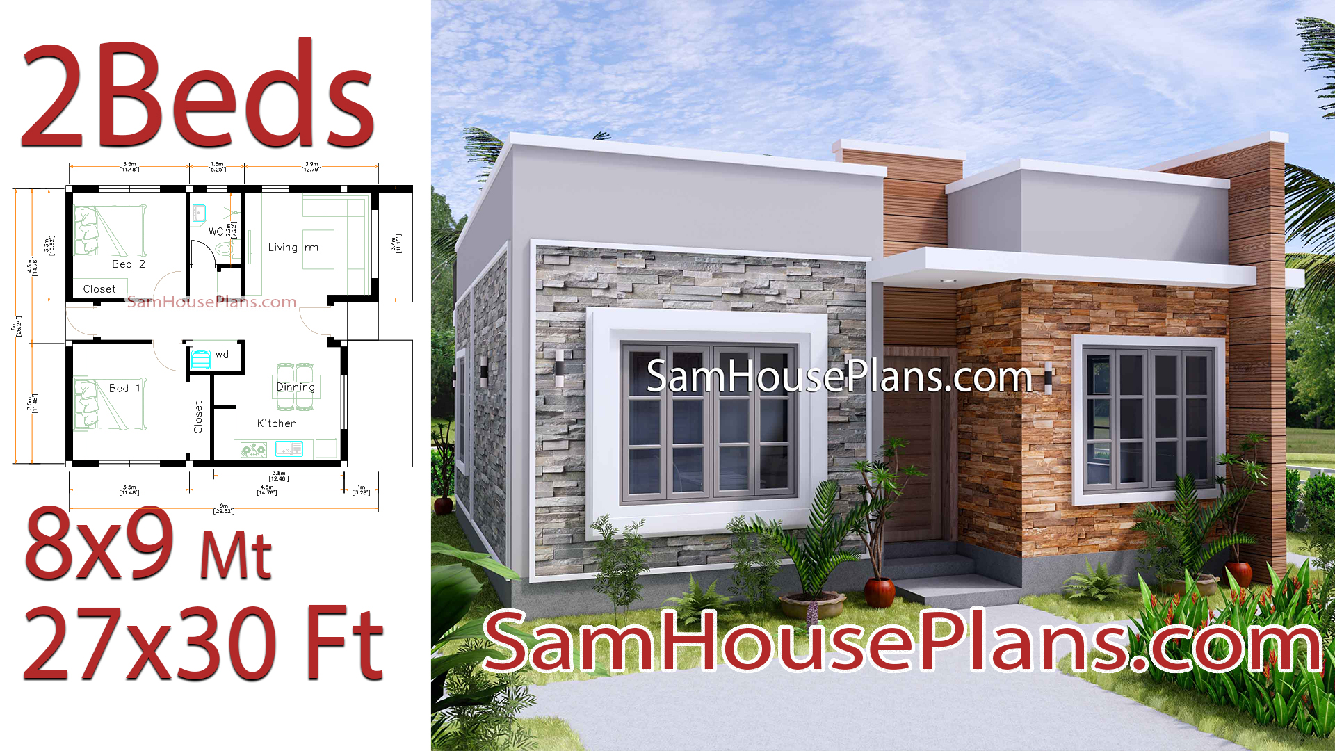 Small House Design 8x9 With 2 Bedrooms Terrace Roof Samhouseplans