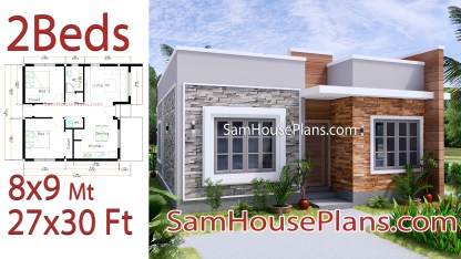Small House Design 8x9 with 2 Bedrooms Terrace Roof
