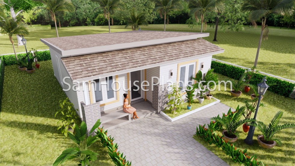 Small House Floor Plans 7x8 Meter 24x26 Feet 2 Bedrooms Full Plans Roof