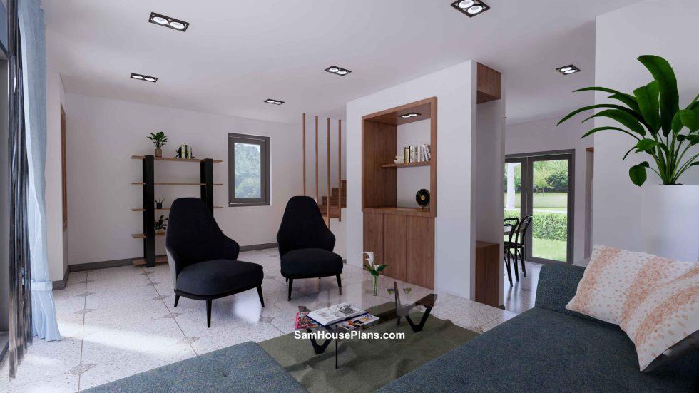 20x30 Small House Plan 6x8.5m PDF Full Plans Interior Living room 4