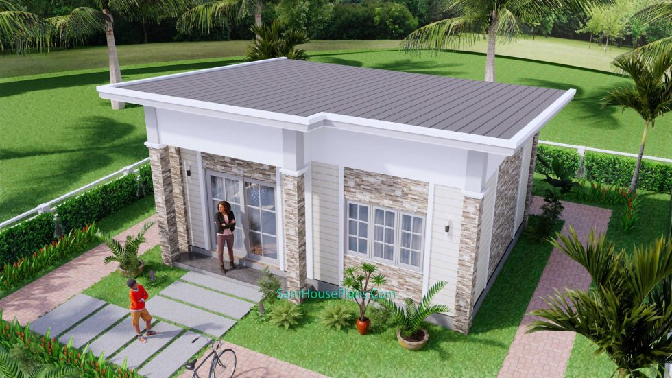 23x19 Small House Plan 7x6m PDF Full Plans Shed Roof 4