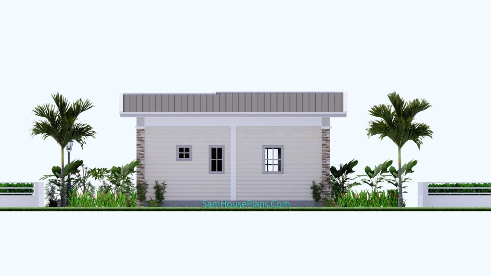 23x19 Small House Plan 7x6m PDF Full Plans Shed Roof Back view