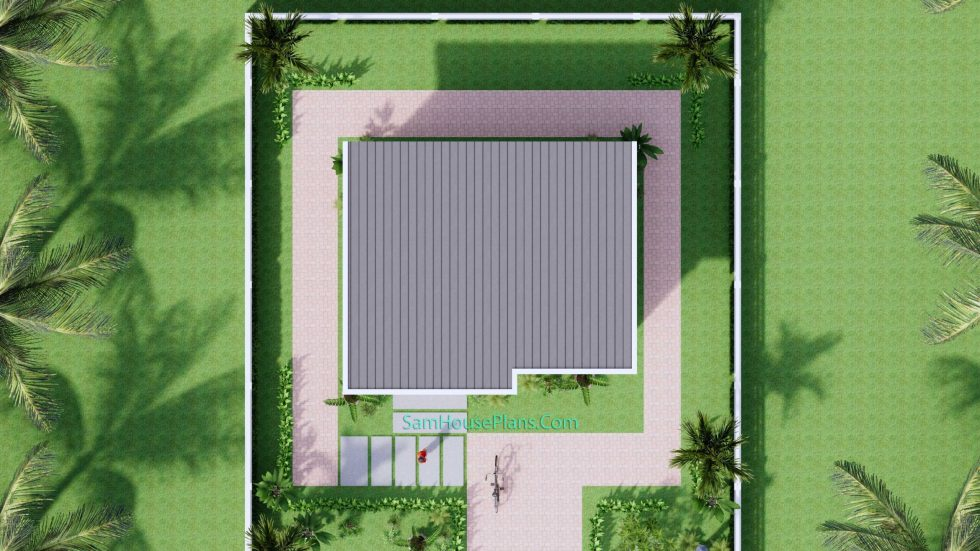 23x19 Small House Plan 7x6m PDF Full Plans Shed Roof Roof view