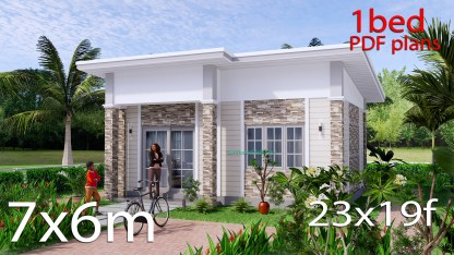 23x19 Small House Plan 7x6m PDF Full Plans Shed Roof
