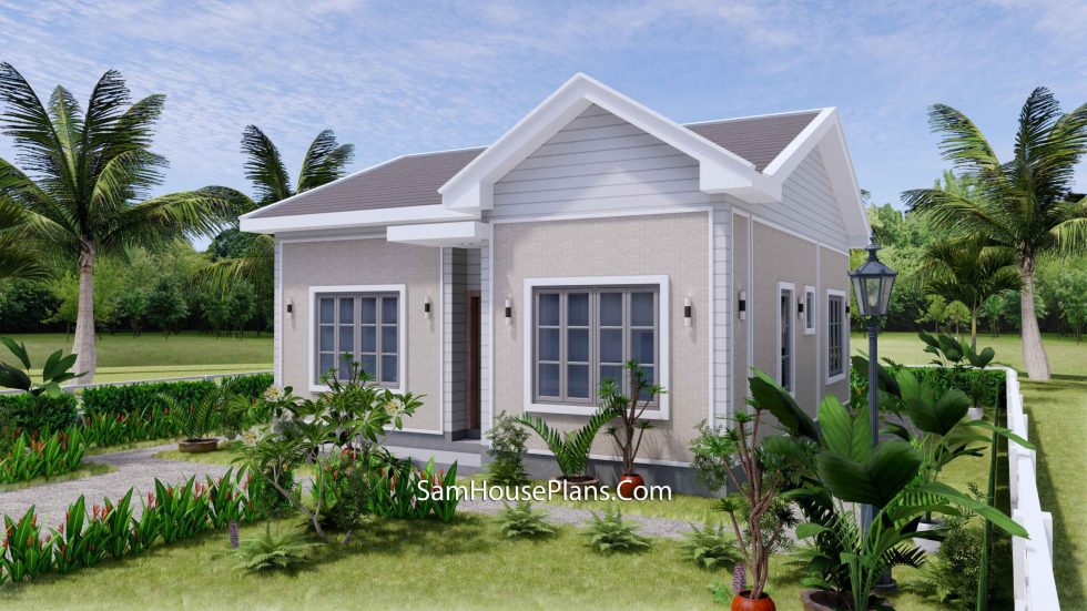 Small House Design 27x30 with 2 Beds Gable Roof 3d 2