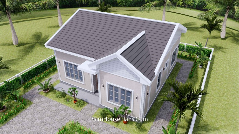 Small House Design 27x30 with 2 Beds Gable Roof 3d 3
