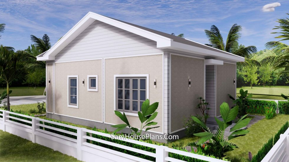 Small House Design 27x30 with 2 Beds Gable Roof 3d 4