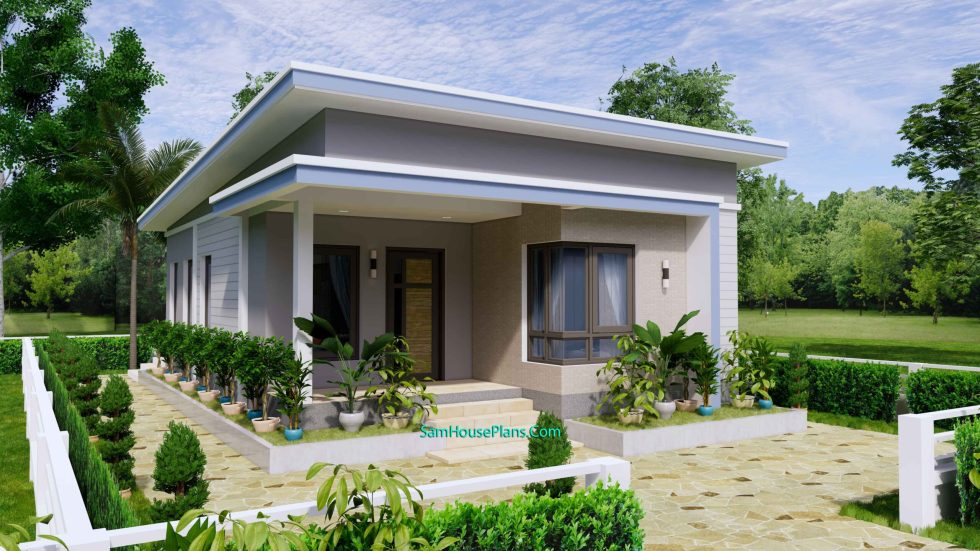 Small House Design 7x11 Meters 2 Beds Shed Roof 23x36 Feet 1