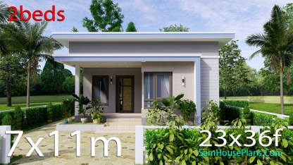 Small House Design 7x11 Meters 2 Beds Shed Roof 23x36 Feet