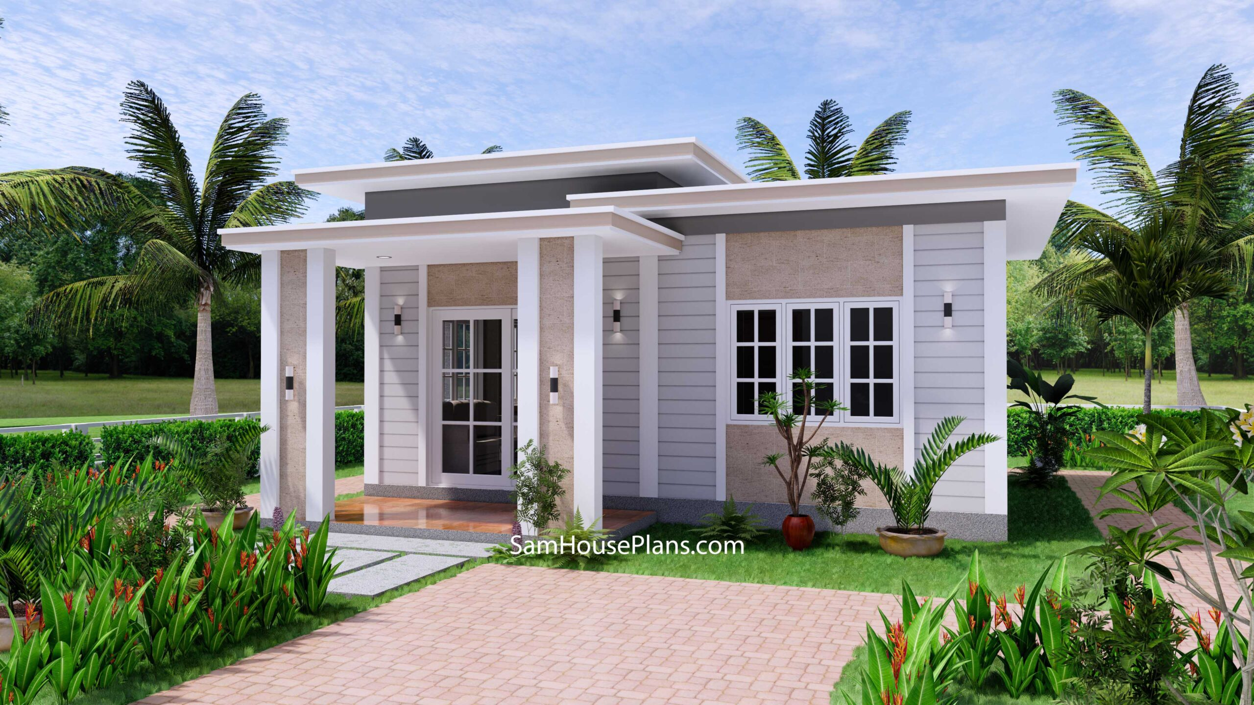 Small House Design 7x7 with 1 Bedrooms Flat Roof 1