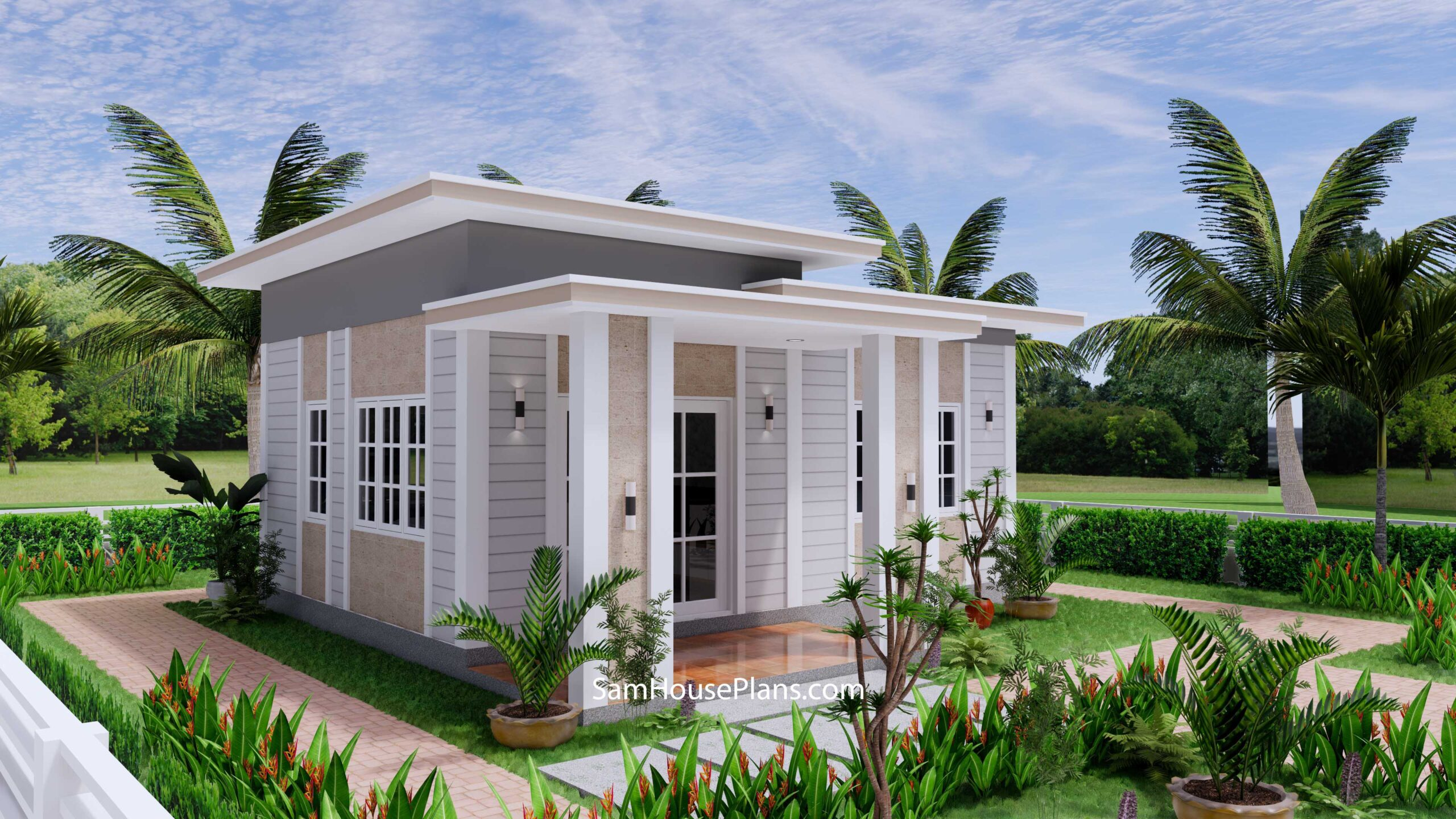 Small House Design 7x7 with 1 Bedrooms Flat Roof 3