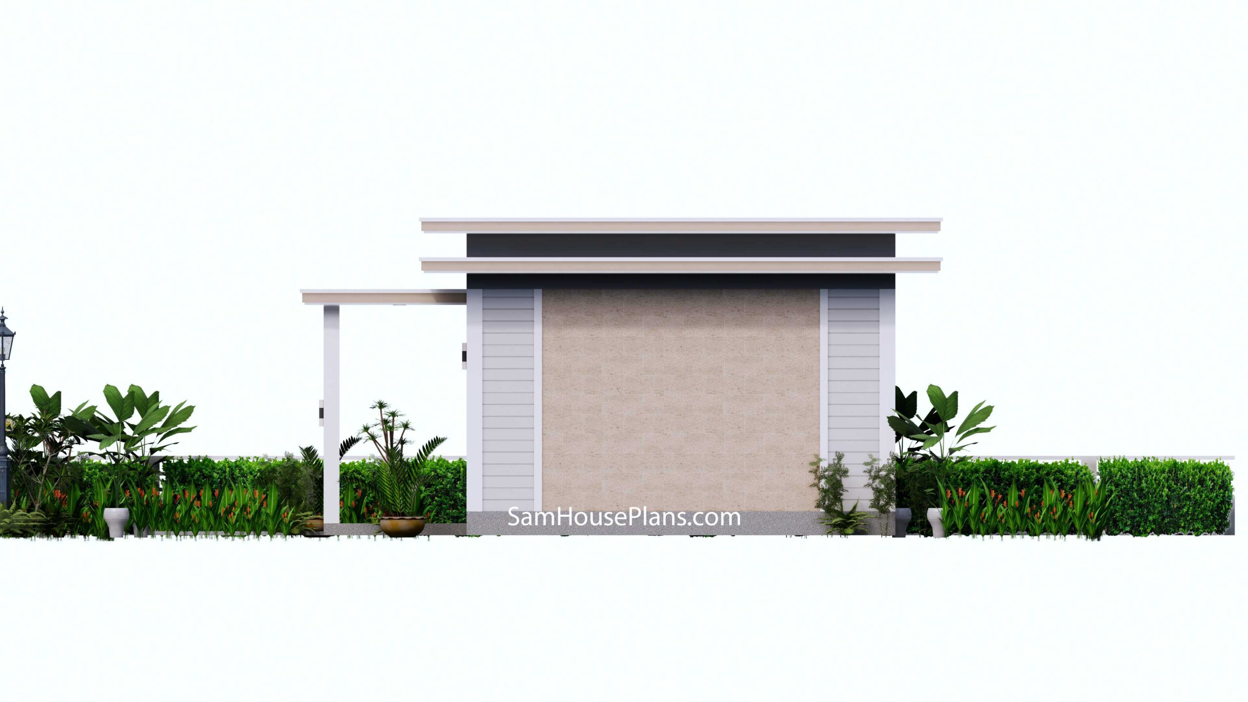 Small House Design 7x7 with 1 Bedrooms Flat Roof Right view
