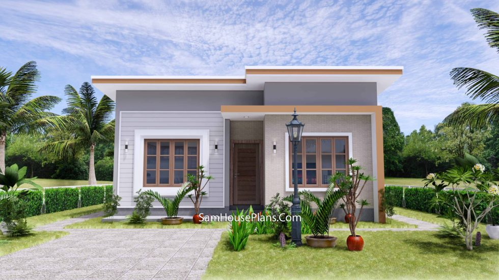 Small House Plan 27x30 with 2 Bedrooms Shed Roof 3d 2