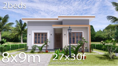 Small House Plan 27x30 with 2 Bedrooms Shed Roof
