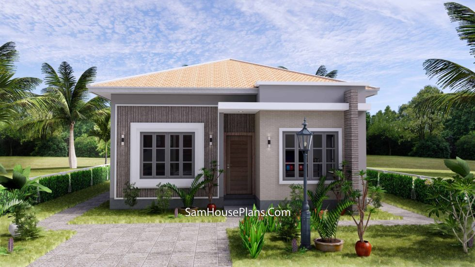 Small House Plan 8x9 with 2 Bedrooms Hip Roof Front 3d 1