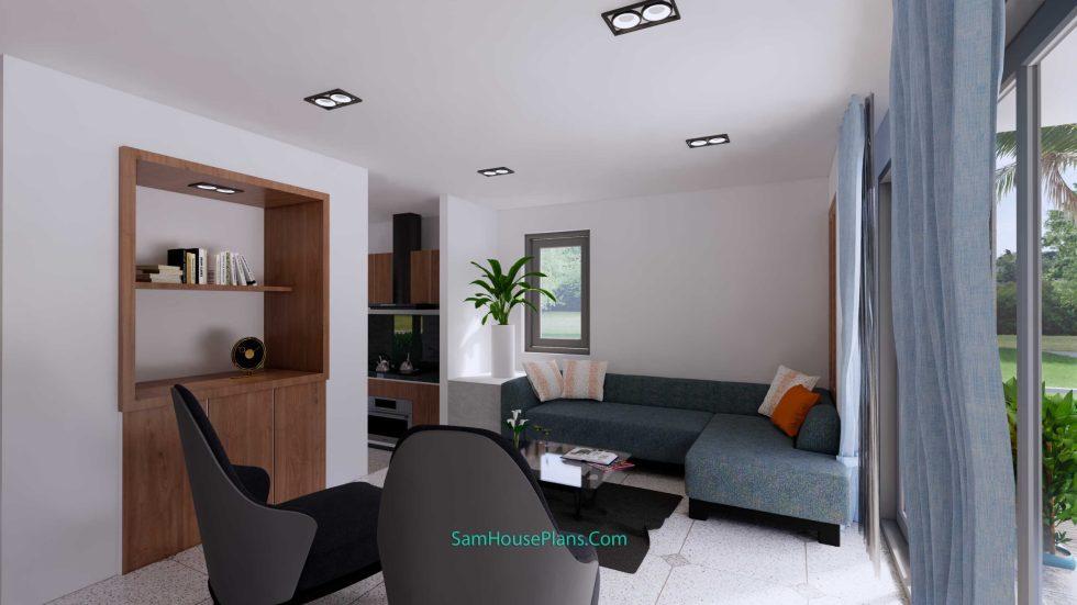20x28 House Design Plan 6x8.5m PDF Full Plans Interior Living room 1