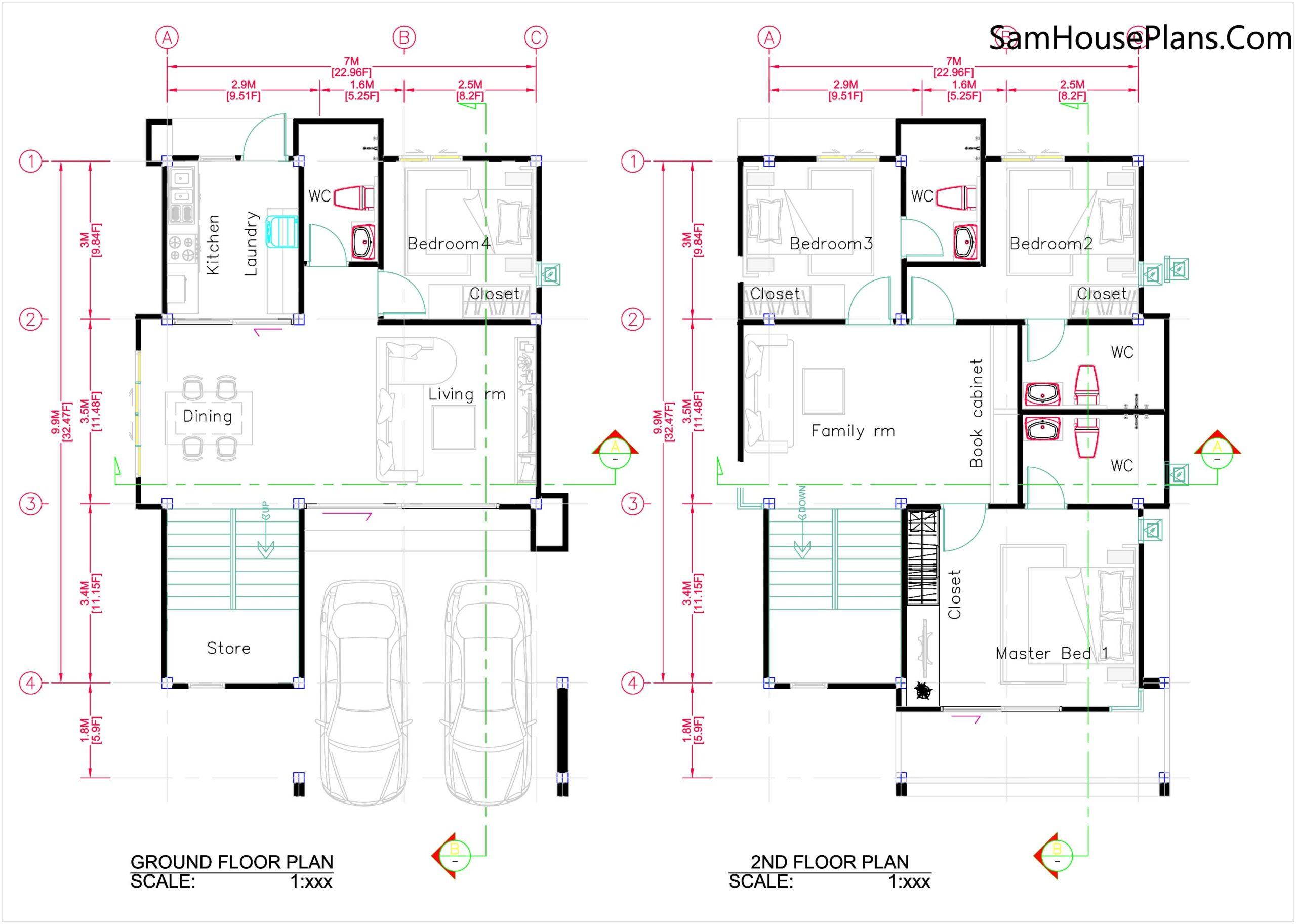 25x38 House Plans 3D 4 Beds Full Plans Flat Roof Left 3d layout floor plan