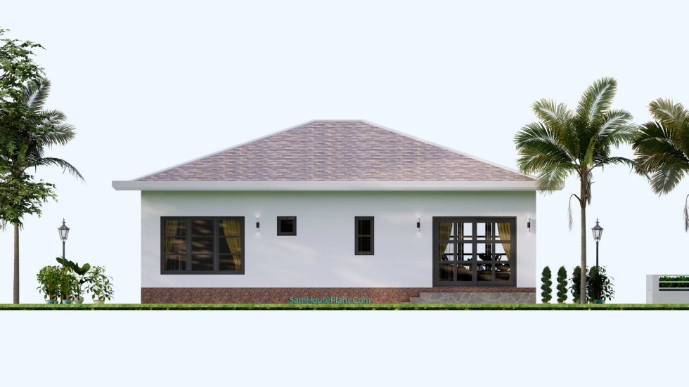 House Design Plans 12x12 Hip Roof 2 Bedrooms Back view