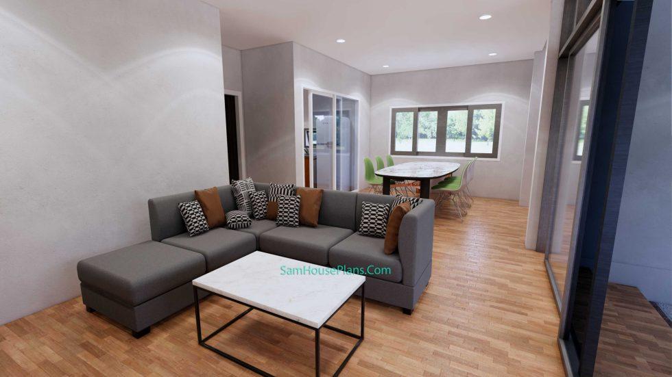 House Design Plans 7x11.7 Shed Roof 4 Beds PDF Full Plans Interior Living room 2