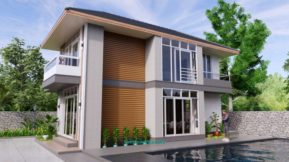 Small House Plans 4.5x10.8 meter 2 Beds PDF Full Plans 5v