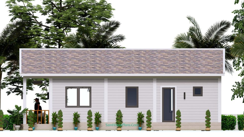 Small House Plans 4.5x12 Meters 2 Beds Gable Roof Style Right view